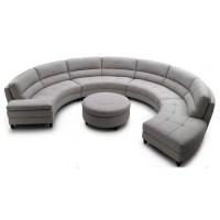 Round Sofa Set 4pc Modern Top Grain Leather Round