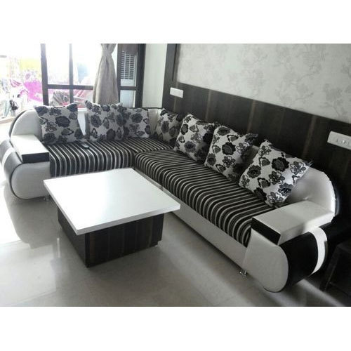 good sofa sets how to fix a loose arm on luck furniture solid wood designer l shaped set rs 26000
