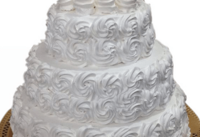 Three Tier White Roses Wedding Cake