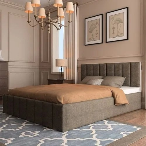 brown upholstered ottoman storage bed