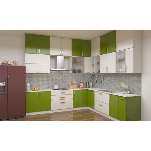 White And Green L Shaped Modular Kitchen Cabinet Rs 60 Square