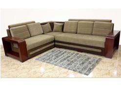 Dark And Light Brown Wooden Frame Corner Sofa, Rs 40000 ...