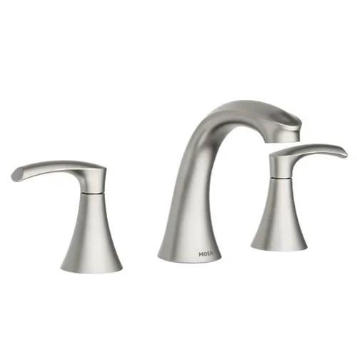 moen graeden spot resist brushed nickel two handle high arc bathroom faucet
