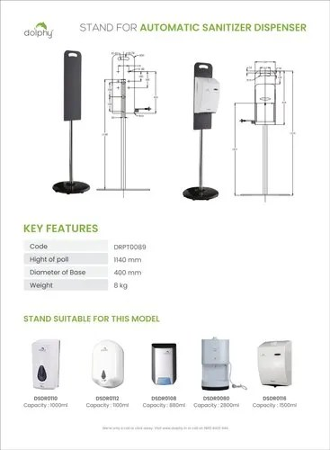 Dolphy Portable Stand For Automatic Sanitizer Dispenser