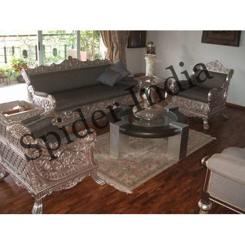 sofa set designs for indian homes corner cushion storage bag mango wood silver inlay home rs 152000 spider india
