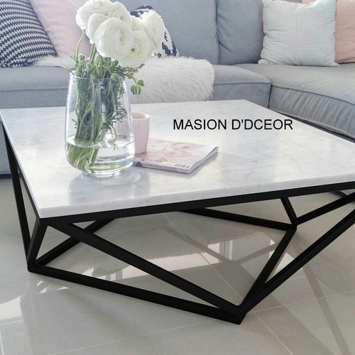 modern marble coffee table with metal frame