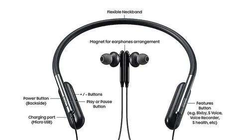 Wireless Black U-Flex Bluetooth Neckband With Bass Sound