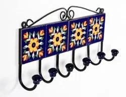 6 hook metal and ceramic tile wall hanger
