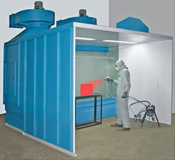 painting booth with exhaust ventilation system