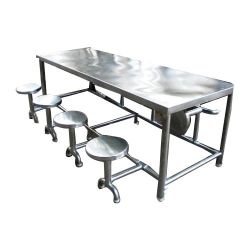 steel kitchen table blue chairs silver stainless dining rectangular rs 18000 piece