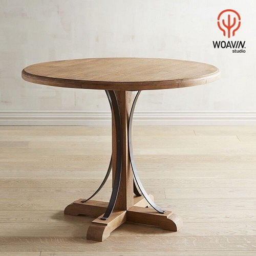 master crafted heavy duty solid wood indian jodhpur style round top wooden dining coffee table