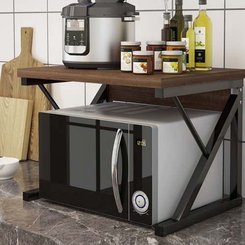 2 tier kitchen counter shelf microwave stand storage spice rack organiser with drawer