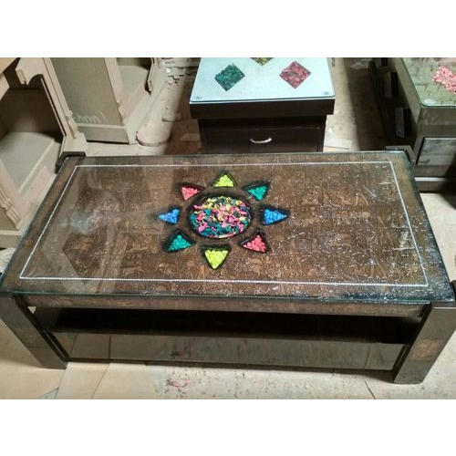 glass top designer center table