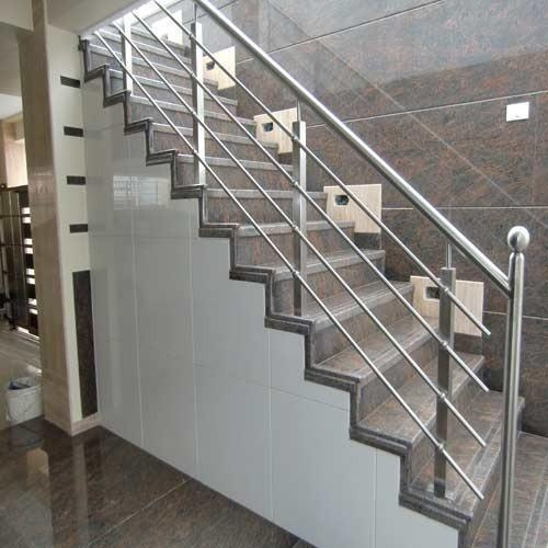 Jindal Stainless Steel Stair Railing Rs 450 Square Feet Andhra   Steel Steps For Stairs   Chequer Plate   Fabricated   Wire Mesh   Prefabricated   Corrugated Metal