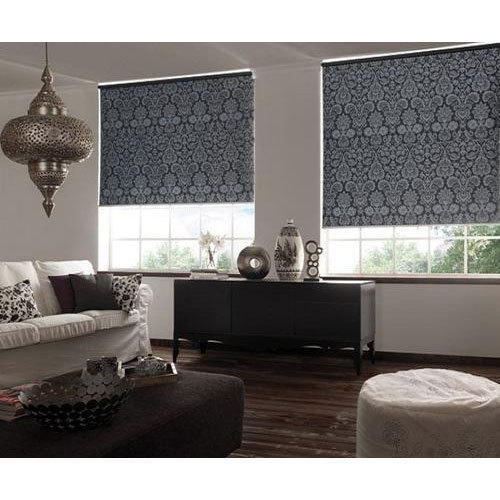 blinds for living room wall painting ideas pvc printed roller rs 300 square feet decor