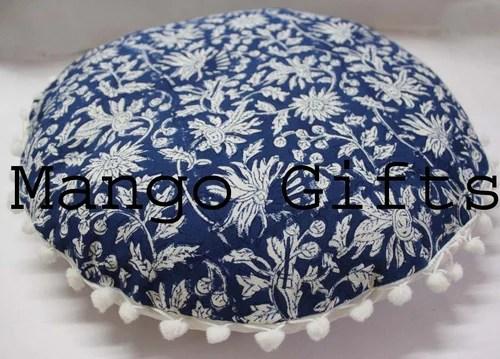 block print round cushion cover with pom pom