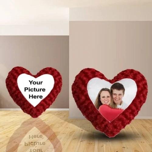Red Photo Pillow Fur Heart Pillow Size 35cmx42cm Rs 700