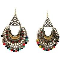 Dangling Earring 2 Tone Drop Shape Multi Color Stones ...