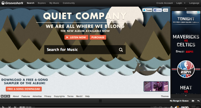 Grooveshark Home Screen