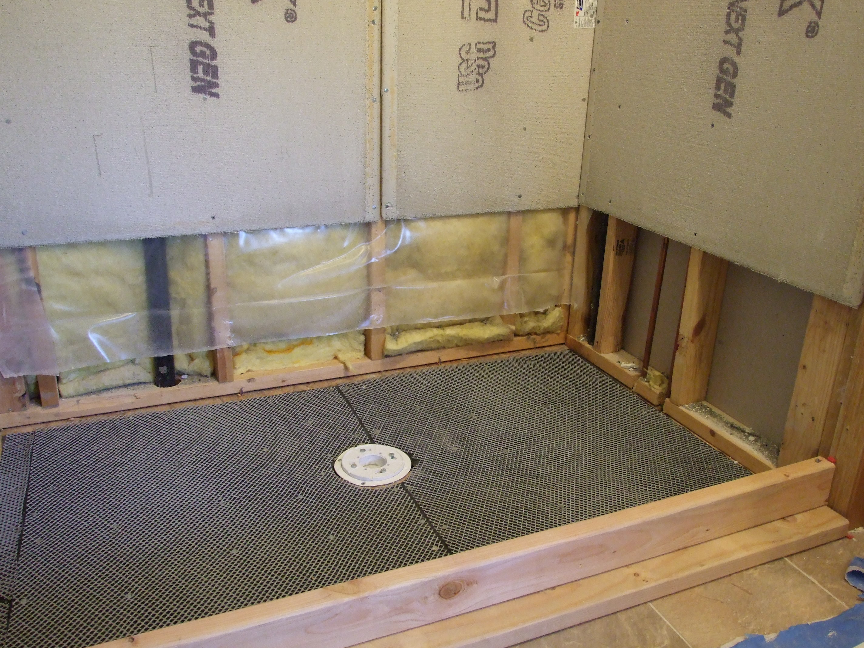 Tile shower pan installation step by step touchdown tile over plywood sub floorskip to step 4 if concrete sub floor install tar paper and plastic or metal lathe with 38 staples or galvanized roofing nails dailygadgetfo Choice Image