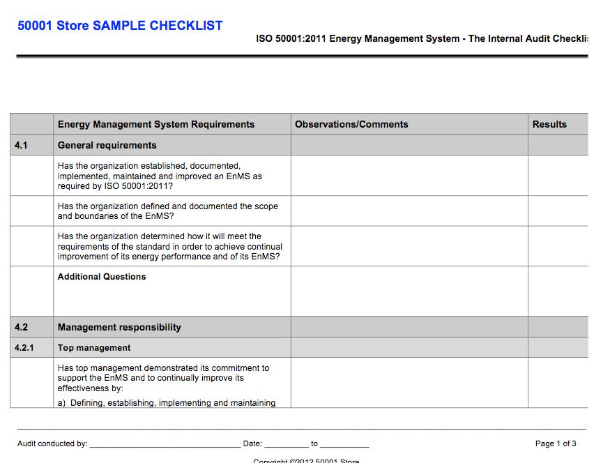 ISO 50001 Internal Auditor Checklist - 50001 Store