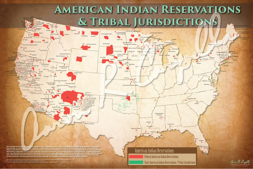 American Indian Reservations Map w Reservation Names 500 NATIONS