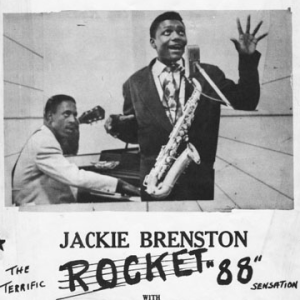 A poster showing Jackie Brenston in front with his saxophone, while Ike Turner glowers at him from the piano in the background