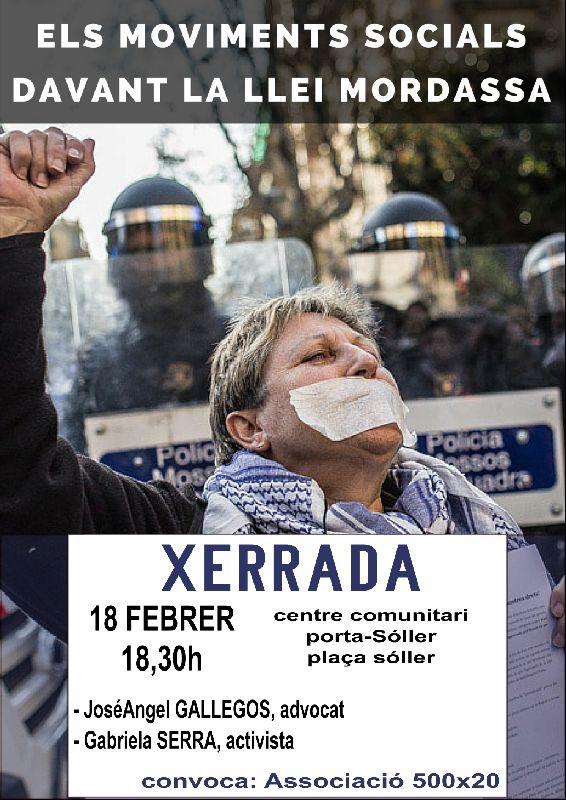 dimecres 18 febrer – 18,30 hores : xerrada / debat llei mordassa.