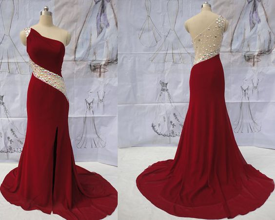 One Shoulder Beading Mermaid Prom Dresses,Long Prom