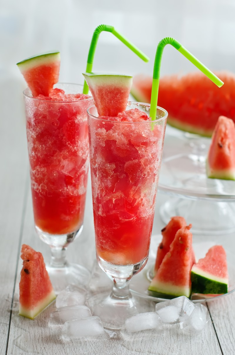 Frozen watermelon juice drink in glasses with straws