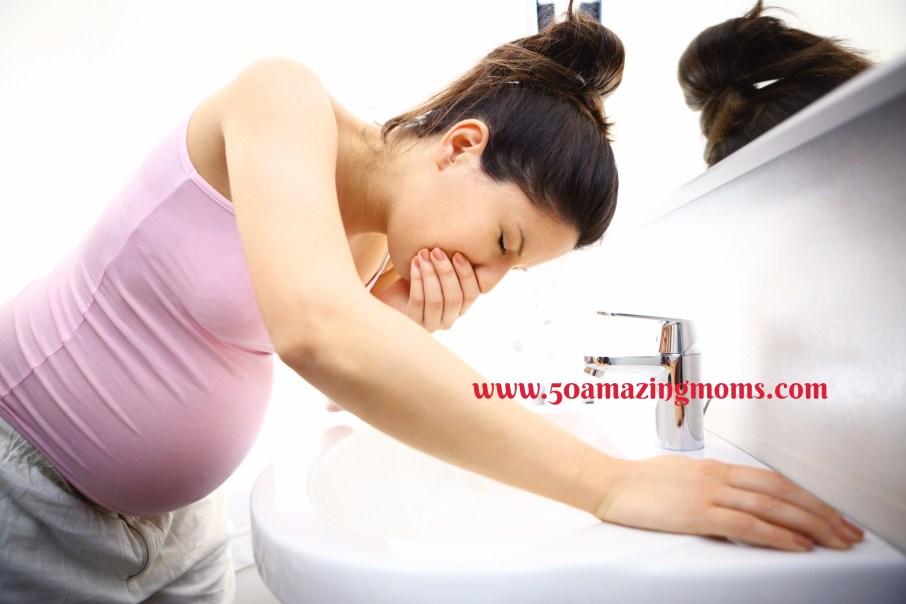 Pregnant woman feeling sick.