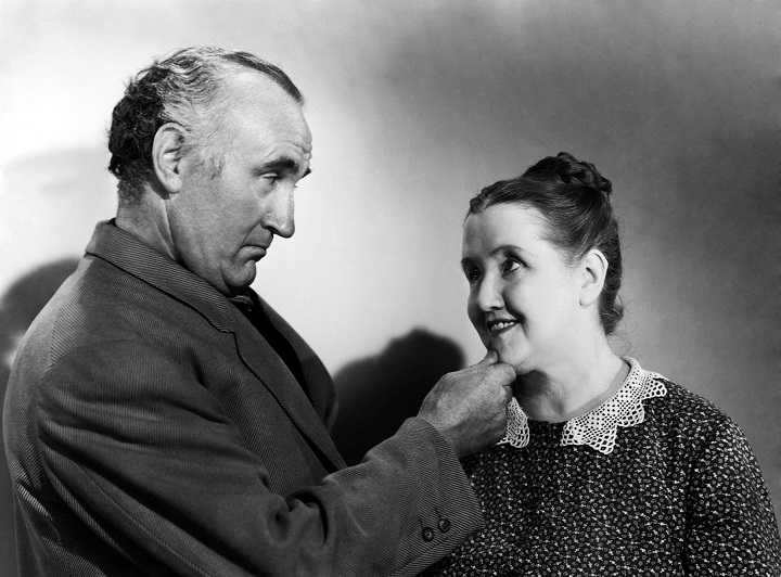 """Donald Crisp, shown here with Best Supporting Actress nominee Sara Allgood, won the Best Supporting Actor Oscar® for his role as family patriarch, Gwilym Morgan, in the 1941 film """"How Green Was My Valley,"""" which also won the Oscar for Best Picture. Restored by Nick & jane for Dr. Macro's High Quality Movie Scans Website: http:www.doctormacro.com. Enjoy!"""