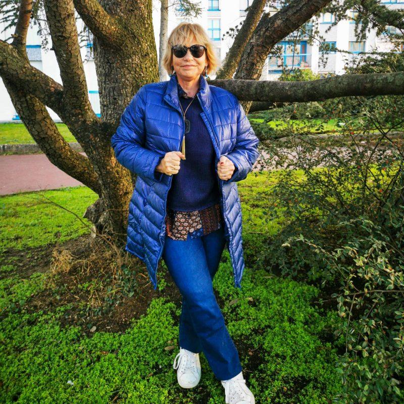 doudoune légère bleu irisé Blanche-Porte