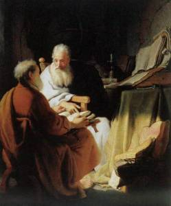 Rembrandt's Two Scholars Disputing (Peter and Paul) 1628.