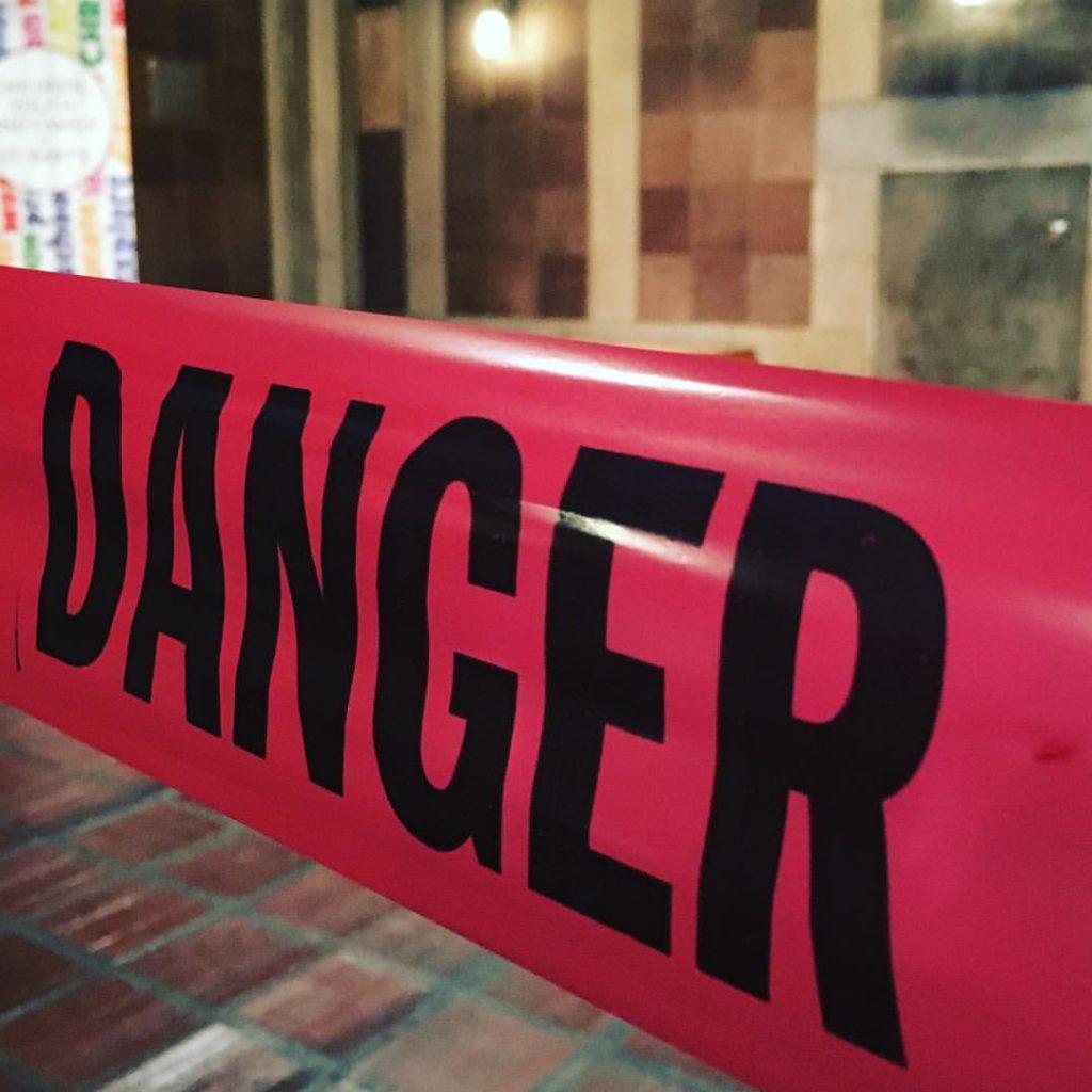 warning tape in church