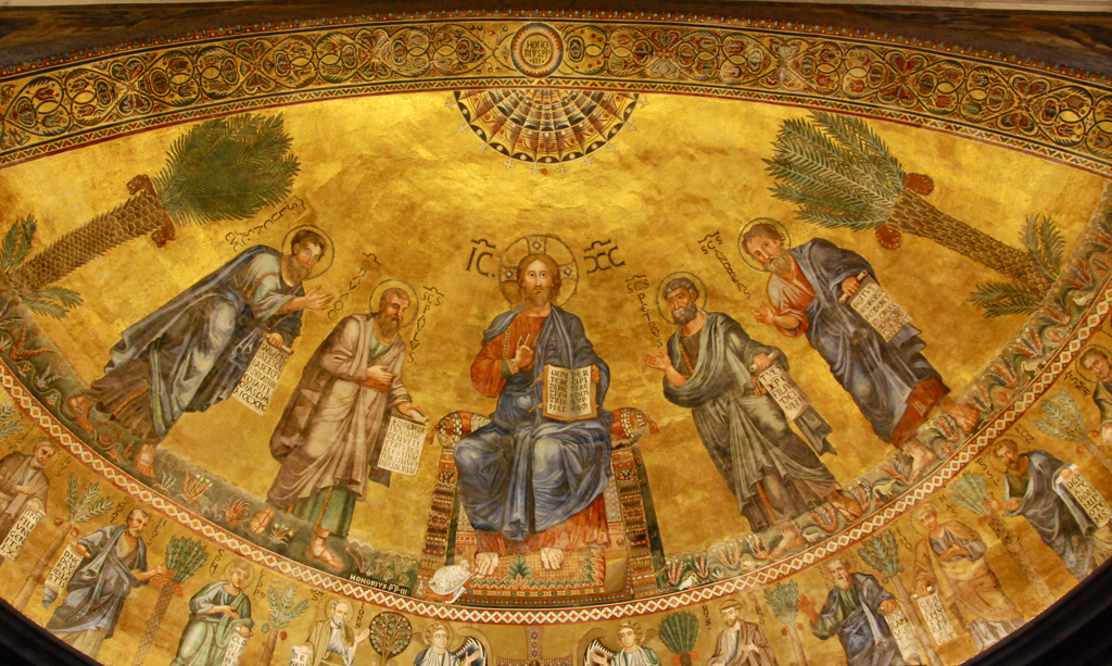 Mosaic with Jesus, St. Paul, and others