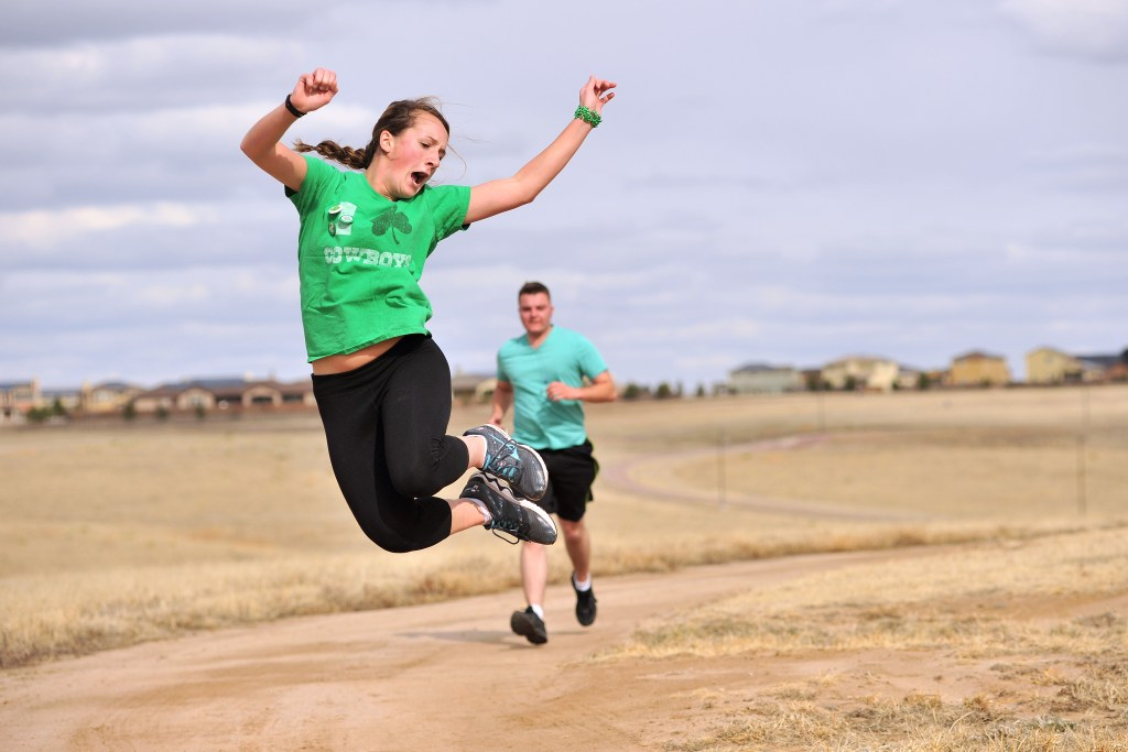 SCHRIEVER AIR FORCE BASE, Colo. -- Members of the 50th Space Wing recognize St. Patricks Day with a wing wide run at the base running track 13 Feb. (U.S. Air Force Photo by Dennis Rogers/Released)