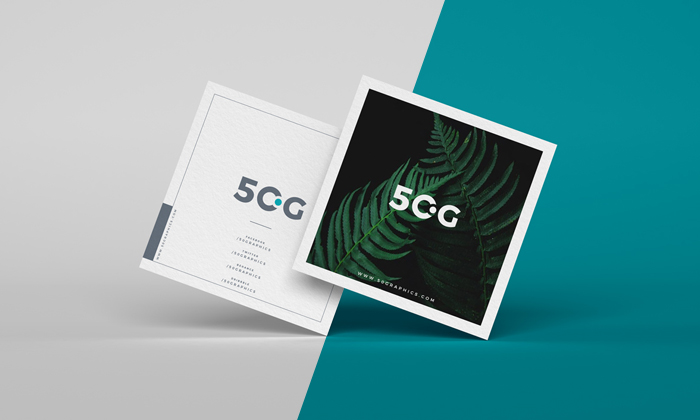 Free Brand Square Business Cards Mockup PSD 50 Graphics