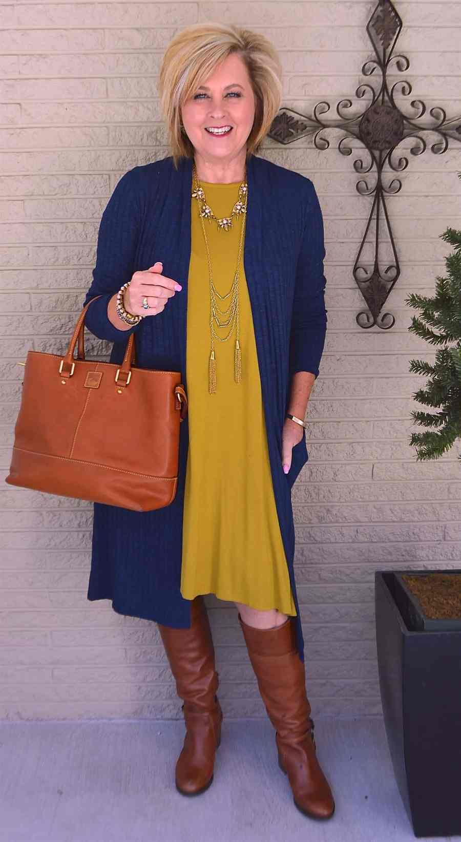 50 IS NOT OLD | LONG DUSTER CARDIGAN WITH A DRESS