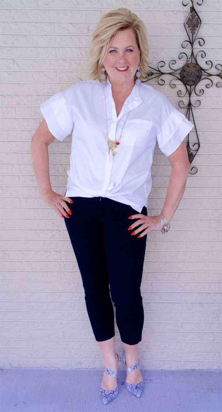50 IS NOT OLD | STYLING A BUTTON DOWN IN A MODERN FASHION | FASHION OVER 40
