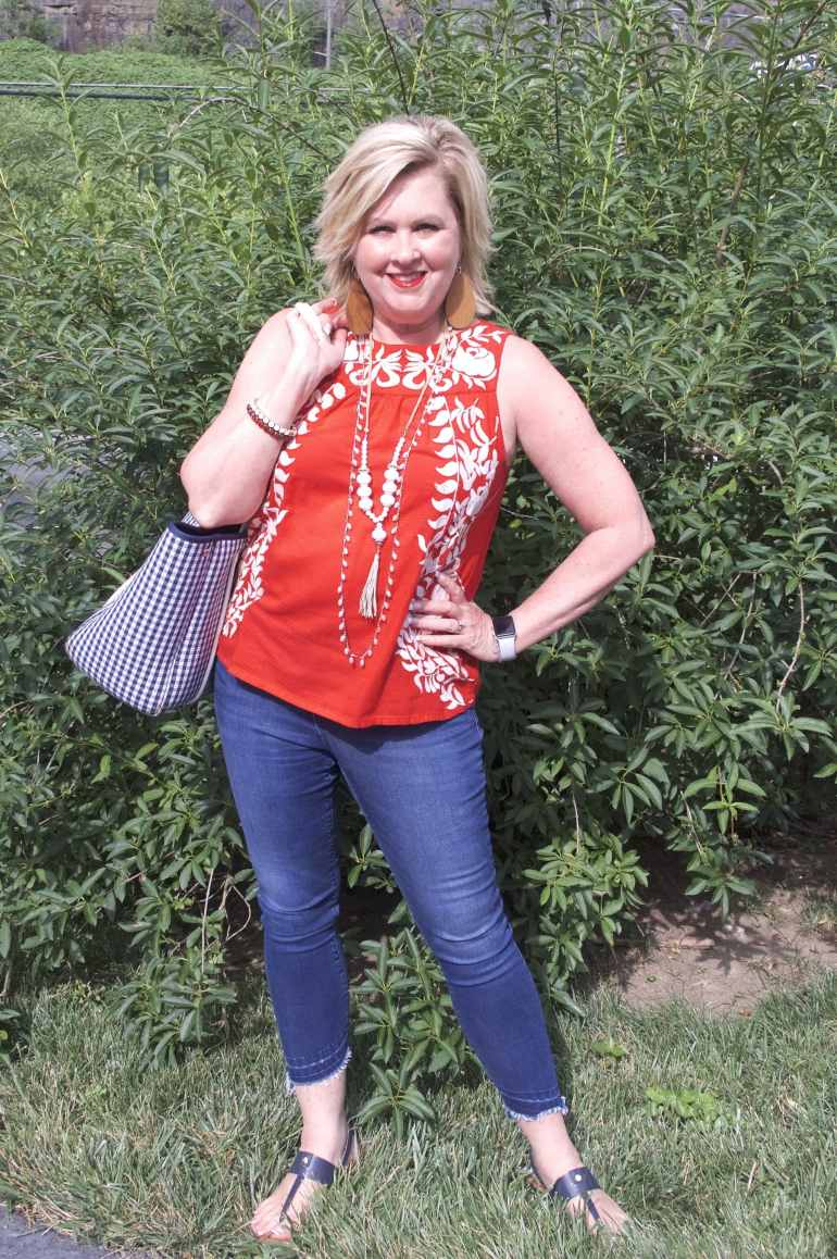 50 IS NOT OLD | RED, WHITE, AND EMBROIDERED ALL OVER | FASHION OVER 40