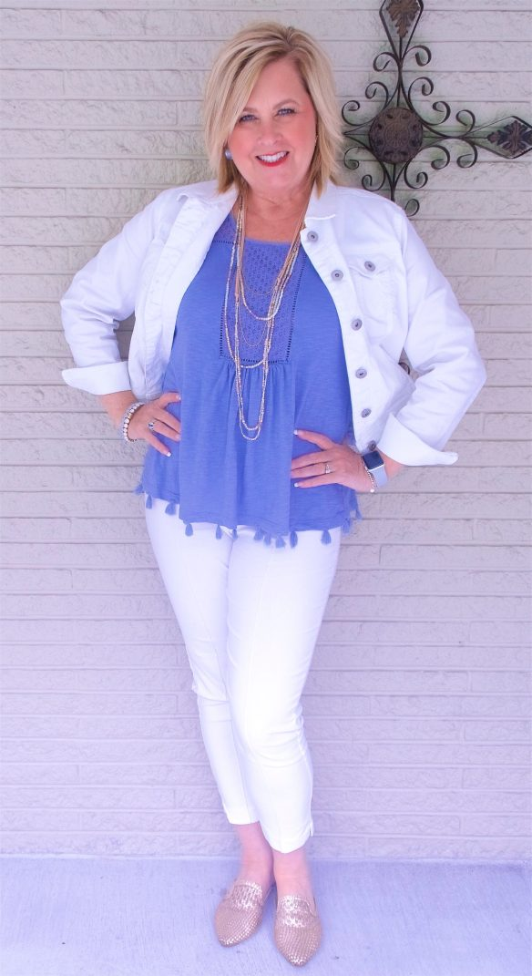 50 IS NOT OLD   WHITE ON WHITE FOR A CLASSIC SUMMER LOOK   FASHION OVER 40