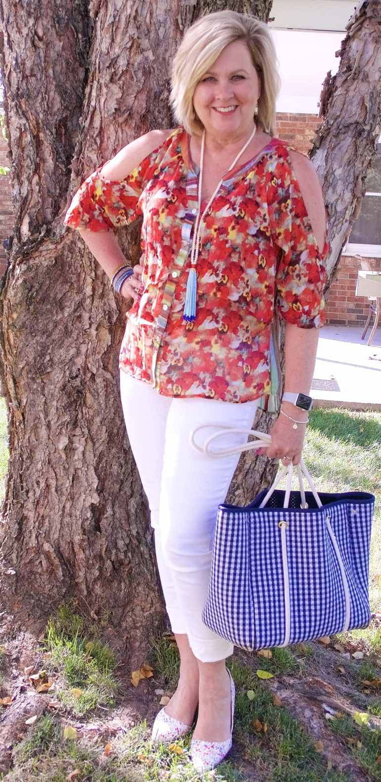 50 IS NOT OLD | COLD SHOULDER FLORAL WITH JEANS | FASHION OVER 40