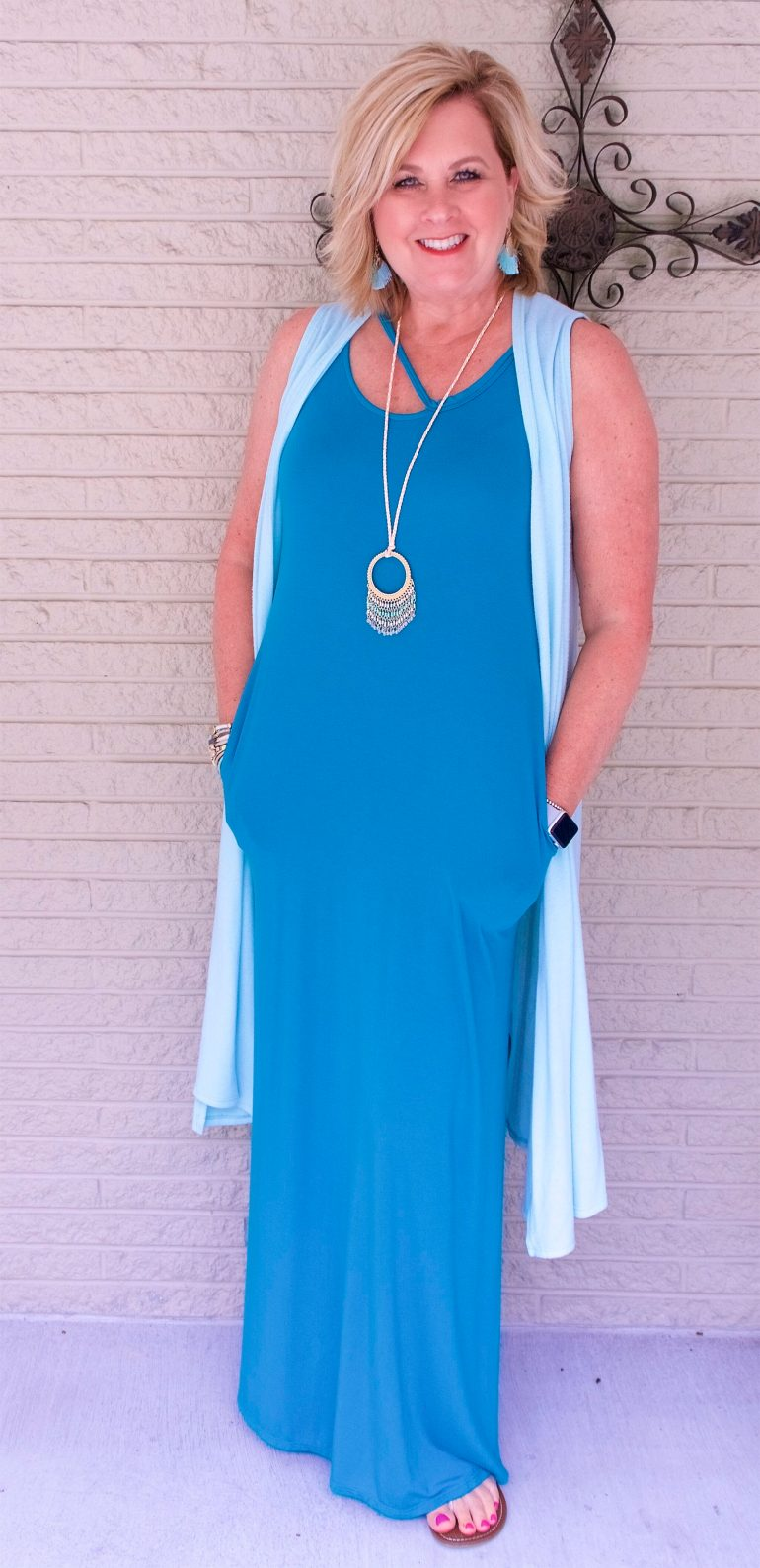 50 IS NOT OLD | A MAXI DRESS AND A LONG VEST | FASHION OVER 40