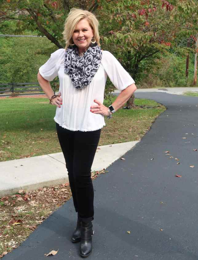 50 IS NOT OLD   BLACK AND WHITE FOR HALLOWEEN   FASHION OVER 40