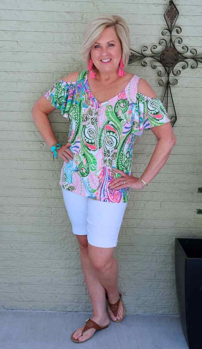 50 IS NOT OLD   WHITE SHORTS AND A COLD SHOULDER TOP   FASHION OVER 40
