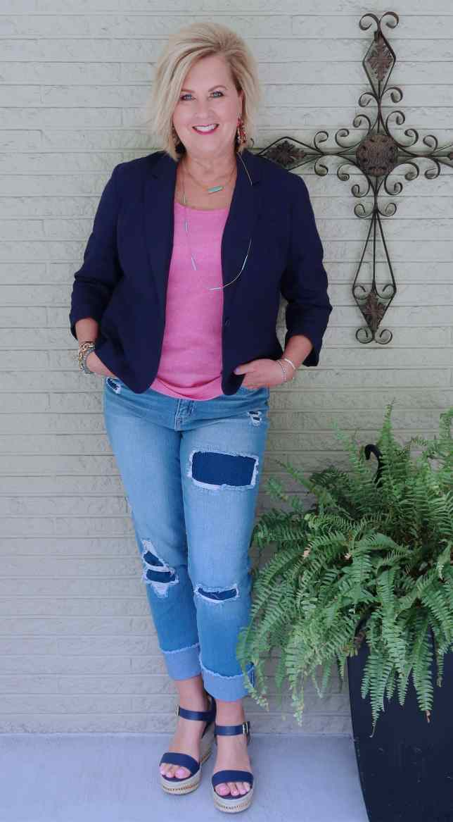 50 IS NOT OLD | DRESSING UP DISTRESSED JEANS | FASHION OVER 40