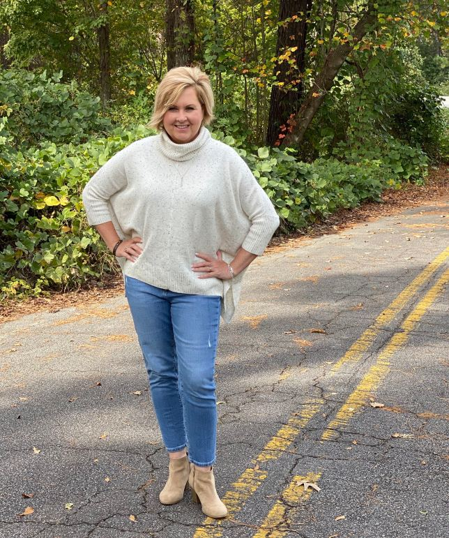50 IS NOT OLD |HOW TO WEAR A PONCHO SWEATER FOR A FLATTERING LOOK | FASHION OVER 40