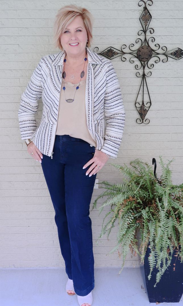 50 IS NOT OLD | TWEED JACKET WITH BOOTCUT JEANS FOR FALL | FASHION OVER 40