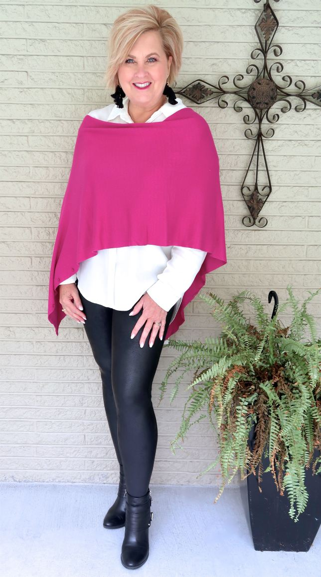 pink scarf with faux leather leggings